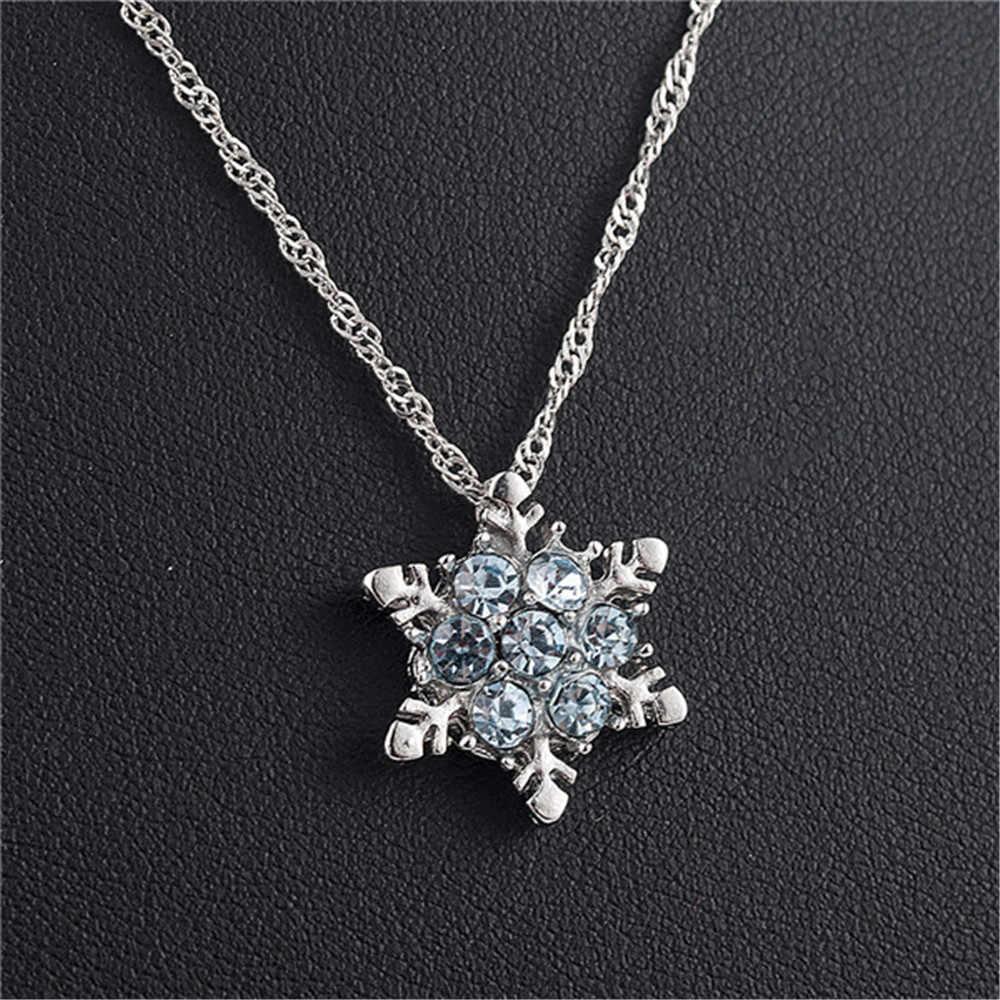2019 Pesona Vintage Wanita Biru Kristal Kepingan Salju Zircon Bunga Kalung & Liontin Perhiasan Hadiah untuk Wanita Wanita Grosir