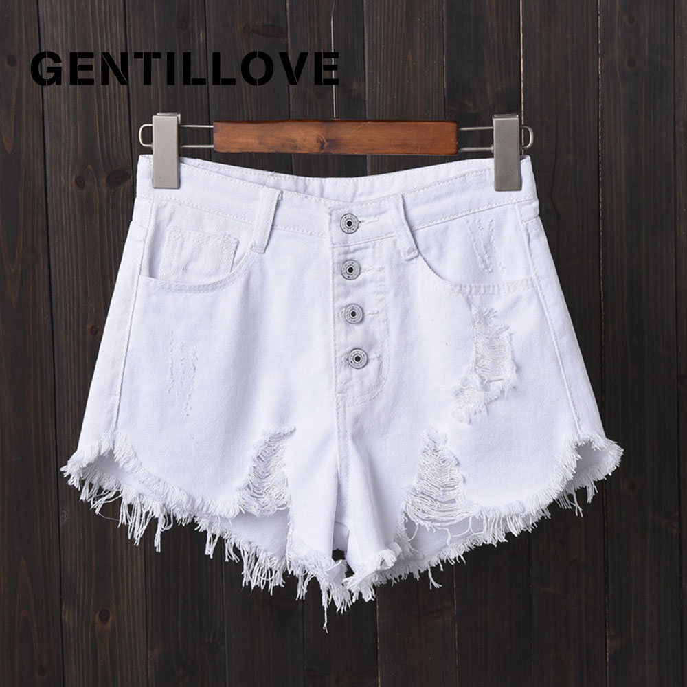 Sexy Hot Denim Shorts High Waist Hollow Out Tassel Jean Shorts Vintage Oversized Harajuku Short Jeans Casual Button Fly Shorts