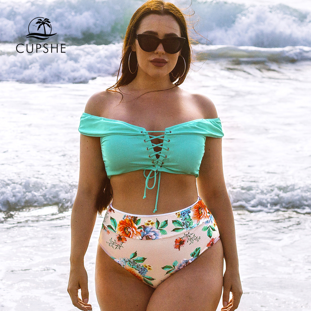 CUPSHE Green Floral Lace Up High-Waisted Bikini Set Sexy Off Shoulder Swimsuit Two Pieces Swimwear Women 2020 Beach Bathing Suit