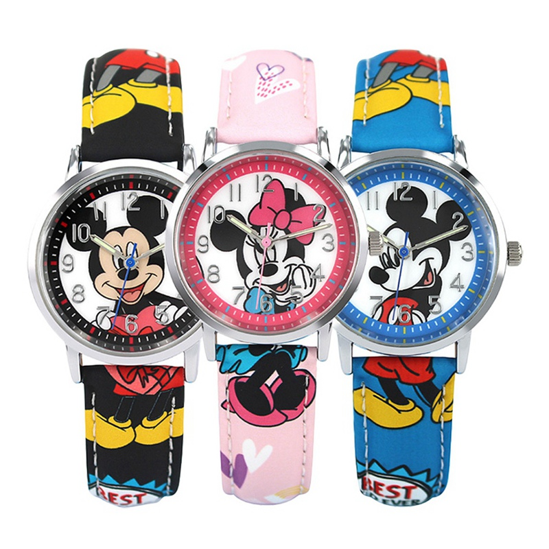 Mickey Mouse Boy Quartz Watch Minnie Pink Girl Child Leather Fashion Casual Waterproof Kid Student Watches Kol Saati Montre Gift