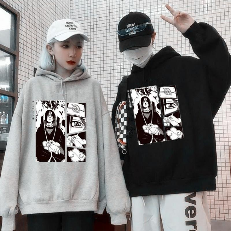 NiceMix couples hooded Harajuku long sleeved cartoon printed causal hoodies men women Vintage tops pullovers hotselling summer