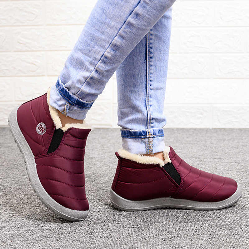 2019 New Ankle Boots For Women Winter Boots Plush Warm Snow Boots Female Winter Shoes Women Boots Waterproof Women Shoes Booties