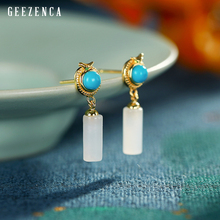 Real 925 Sterling Silver Gold Plated Hetian Jade Turquoise Stud Earring Designer Trendy Vintage Gemstone Silver Earrings Jewelry
