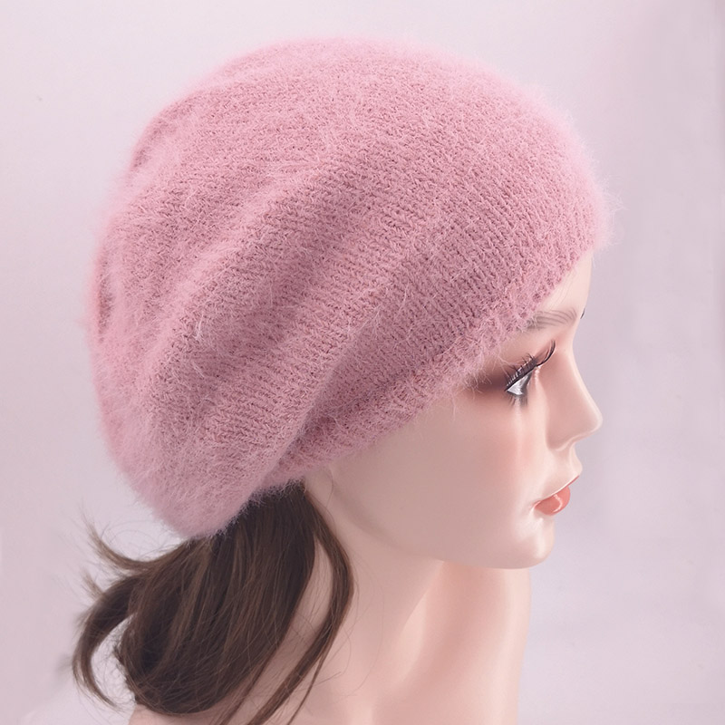 GZHILOVINGL Winter Soft Mohair Knitted Beret Beanies Hats For Ladies Baggy Slouchy Skullies Beanie For Women Femme Dropshipping