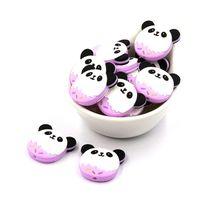 5pc Silicone Beads Panda Cartoon Animals Baby Teether DIY Accessories B