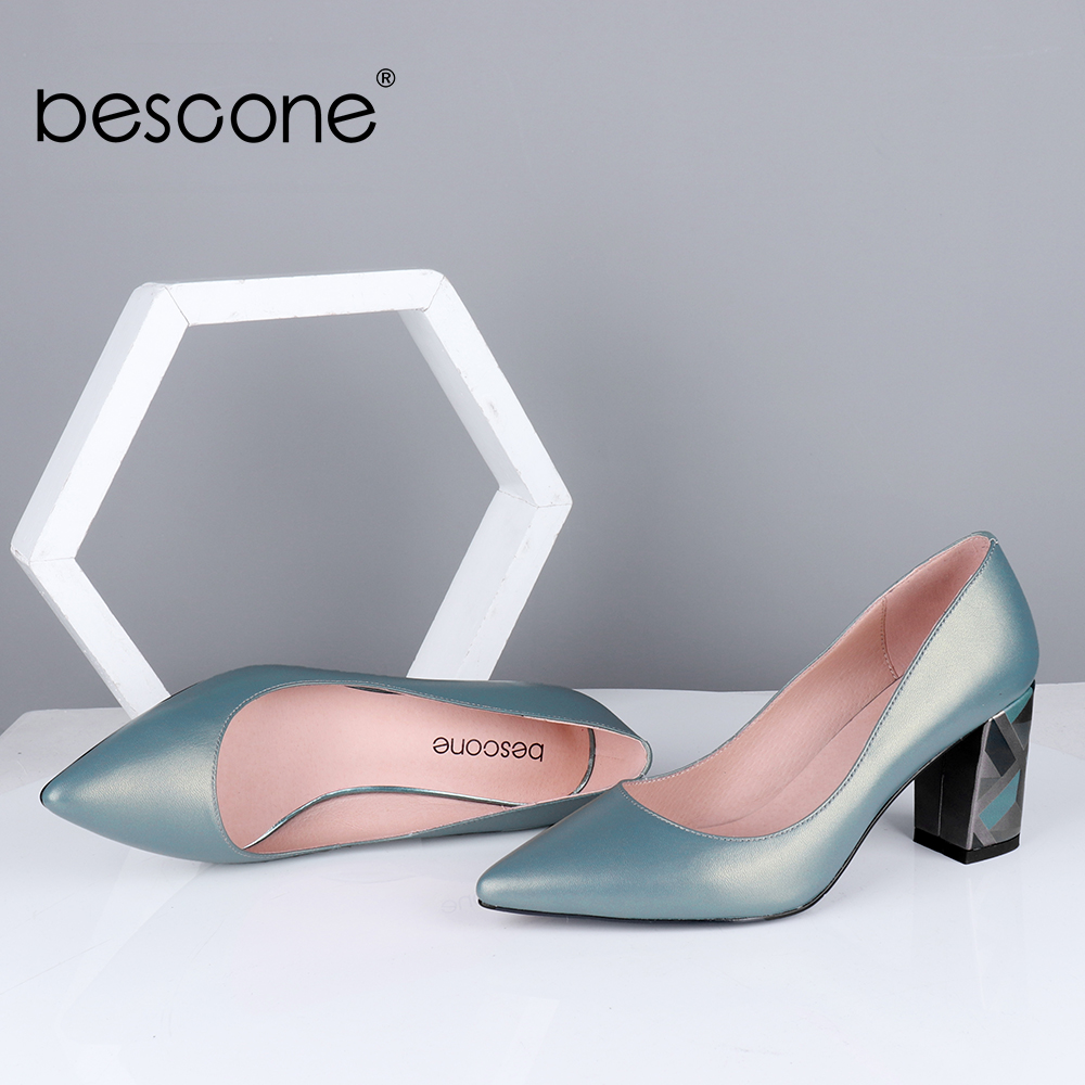 BESCONE Elegant Pumps Women High Quality Sheepskin Comfortable Colorful Square Heel Pointed Toe Office Shoes Fashion Pumps BC700