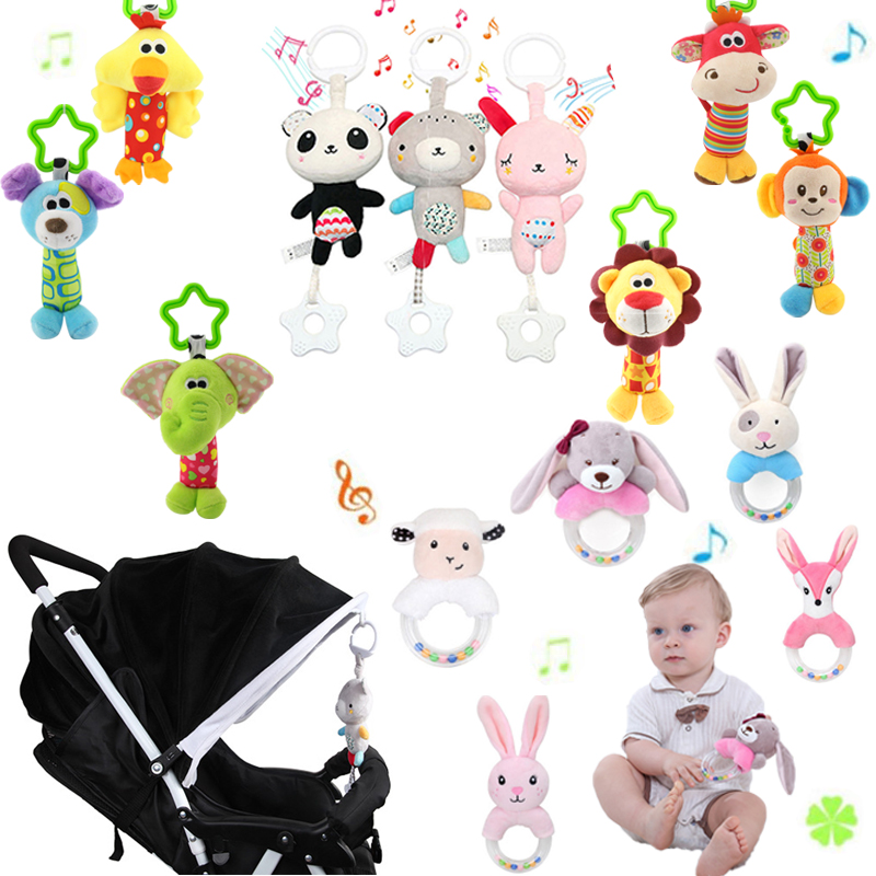 Newborn Baby Rattles Mobiles Toddler Toys Crib Toys For Kids Soft Bed Bell Animal Musical Montessori Educational Mobile Rattles