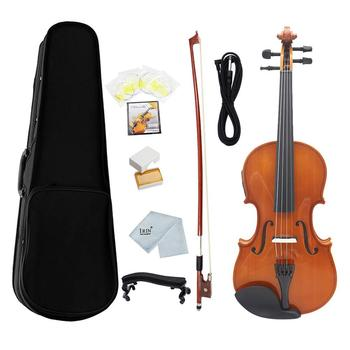 4/4 Full Size EQ Electric Violin Kit solid wood Face Board with Violin Bow Case Shoulder Rest Cable Rosin Strings Clean Cloth electric violin full size 4 4 electric violin fiddle solid wood