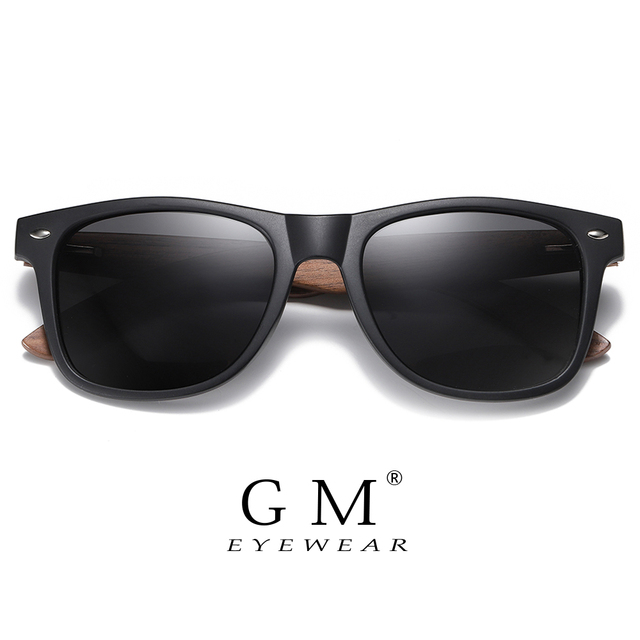 GM Environment-Friendly Retro Black Walnut Wood UV400 Polarized Bamboo Sunglasses Men's Fashion Trendy Anti Blue Lens S7061h