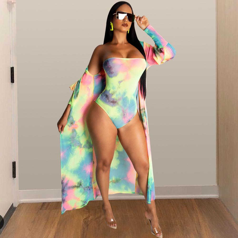 New Cover Ups Summer Women Beach Wear Rainbow Strapless Bodysuit Bikini 2PCS Long Sleeve Cardigan Swimsuit Cover Up Bathingsuit