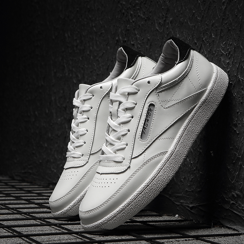 Korean Version Solid White Men Casual Shoes Sneakers 2019 Spring Autumn Lightweight Genuine Leather Men's Flats Leisure Trend