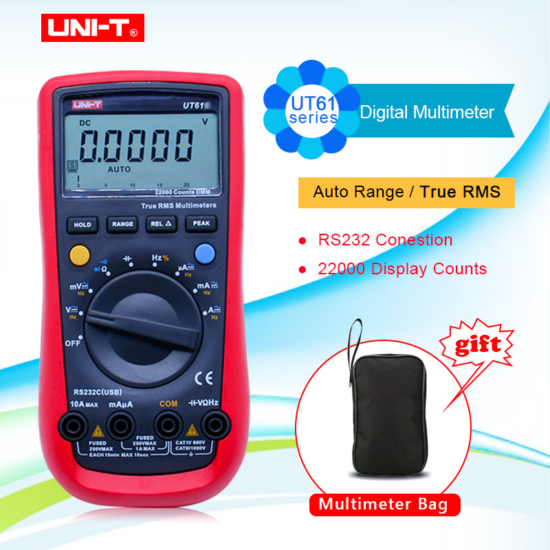 UNI-T UT61A UT61B UT61C UT61D UT61E Multimetro digitale true rms AC DC Meter Software CD & Data Hold Multitester + Gift