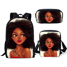 HaoYun Primary Students Cartoon Backpack Black African Girls Pattern Kids School Bags Afro Arts Designer 3PCs/Set Book