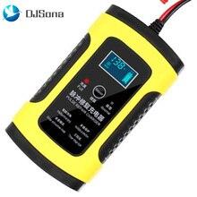 DJSona 12V 6A LCD Smart Fast Car Battery Charger for Auto Motorcycle Lead-Acid AGM GEL Batteries Intelligent Charging 12 V Volt