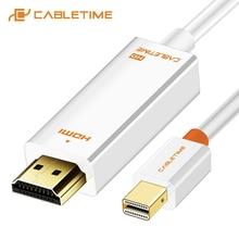 Cabletime nova chegada 2020 thunderbolt mini displayport dp para hdmi adaptador hdmi dp cabo para 1080p tv computador macbook c055