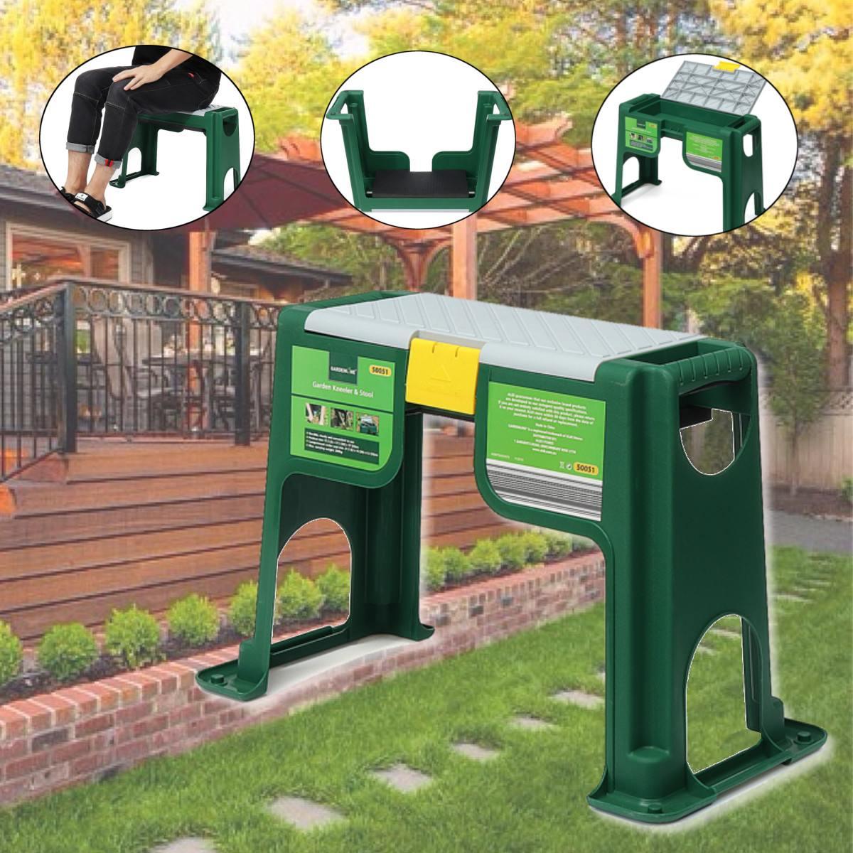 Portable Garden Stools Green Grey With Storage Bin Garden Kneeler And Seat Stable Plastic Lightweight Garden Chairs Thicken Step