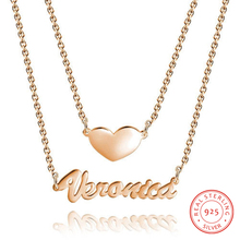 Personalized 925 Sterling Sliver Name Necklaces Heart Pendant Engraved Anniversary Jewelry Simple Style Gift for Women