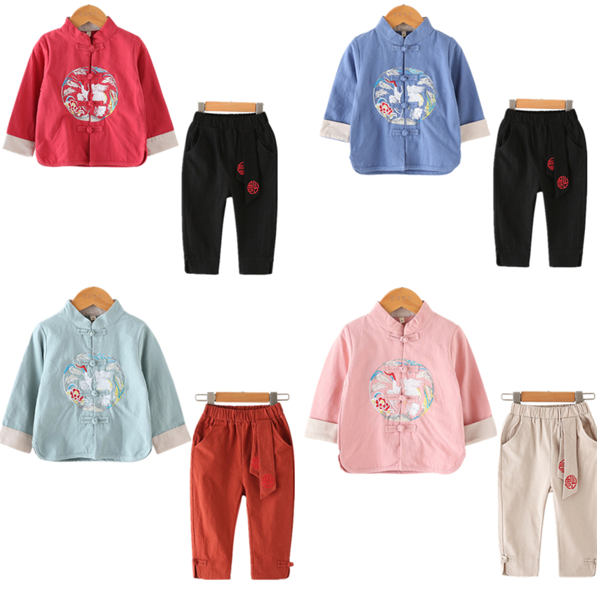 10Color New Kids Chinese Tang Suit Traditional Chinese Shirt Clothing For Baby Boys Flax Coat Kung Fu Outfit Top Pant Set