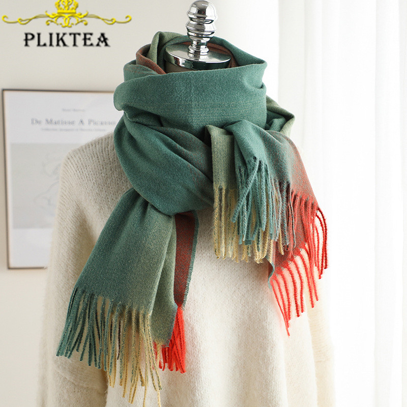 Change Colorful Rainbow Tippet   Scarf   for Women Cashmere Green Winter   Scarves     Wrap   Patchwork Female Hijab   Scarf   New Women's Shawl