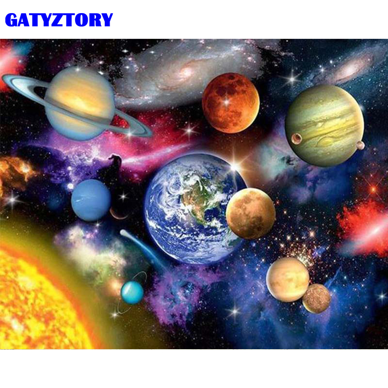 GATYZTORY Frame 60x75cm DIY Painting By Numbers Space Landscape Acrylic Coloring By Number Kit Handpainted Oil Painting For Home title=