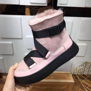 Winter Boots Women Shoes Platform Plush Genuine-Leather Cotton Non-Slip Flat Ankle Female