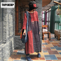 High quality female plus size vintage geometric print patchwork linen dress loose o neck long Muslim robe dresses