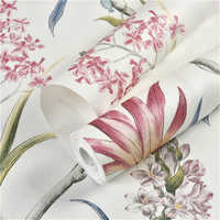 1M Vintage Pink Floral Wallpaper Tropical Butterfly Birds Flower Wall Paper Wallpaper For Bedroom Wall Covering