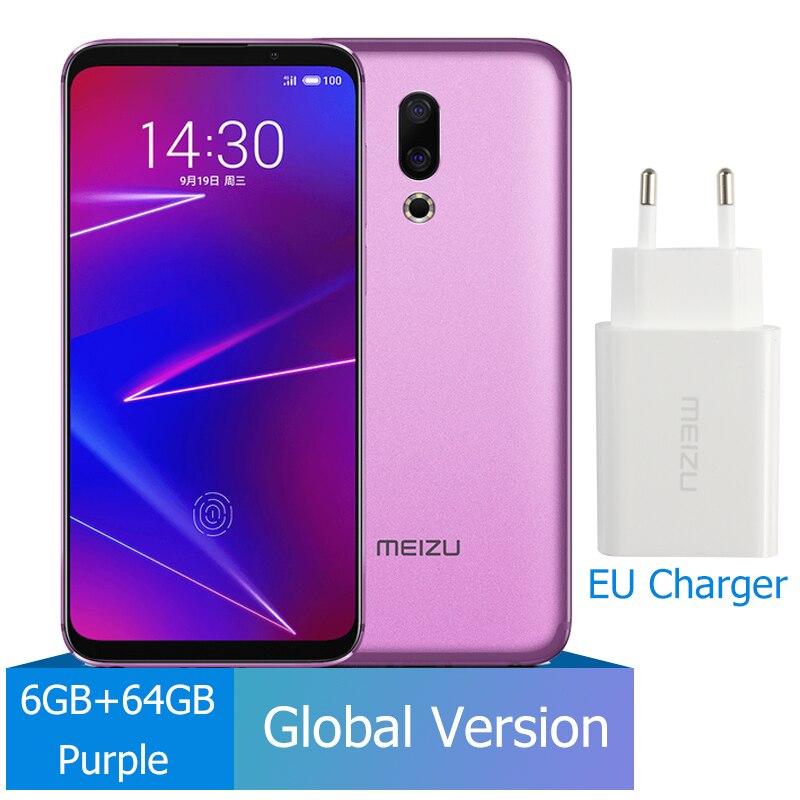 Meizu 16, 6 ГБ, 64 ГБ, глобальная версия, Смартфон Snapdragon 710, четыре ядра, мобильный телефон на фронтальной панели 20 МП, 3100 мАч, встроенный экран, отпечаток пальца - Цвет: 64G Purple