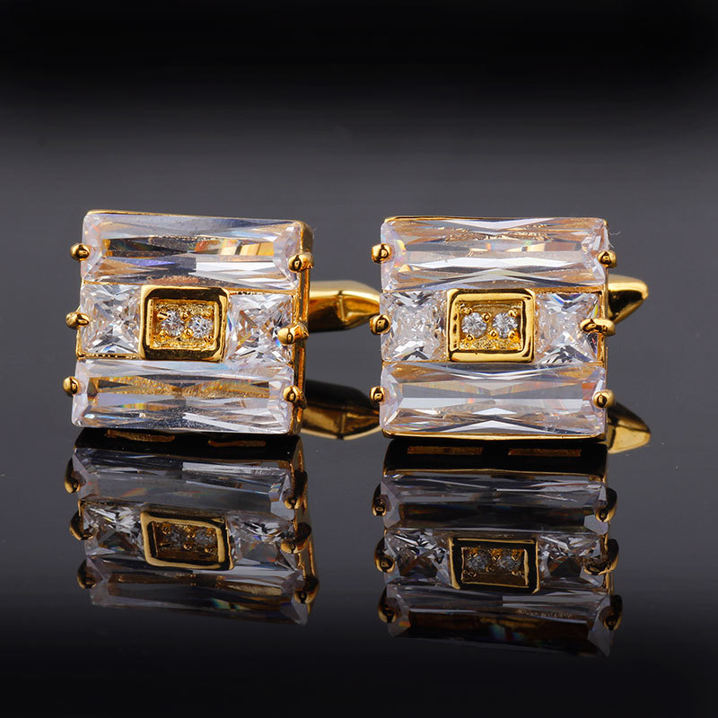 Crystal Cufflinks High-grade Men's Unisex Gifts Daily Fashion Personality French Shirt Buttons Gold Frame Business Cufflinks