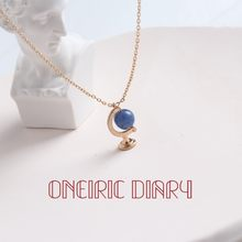 Enric diário azul escuro globo pingente colar para mulher profundo misterioso temperamento simples personalidade linda beleza colar