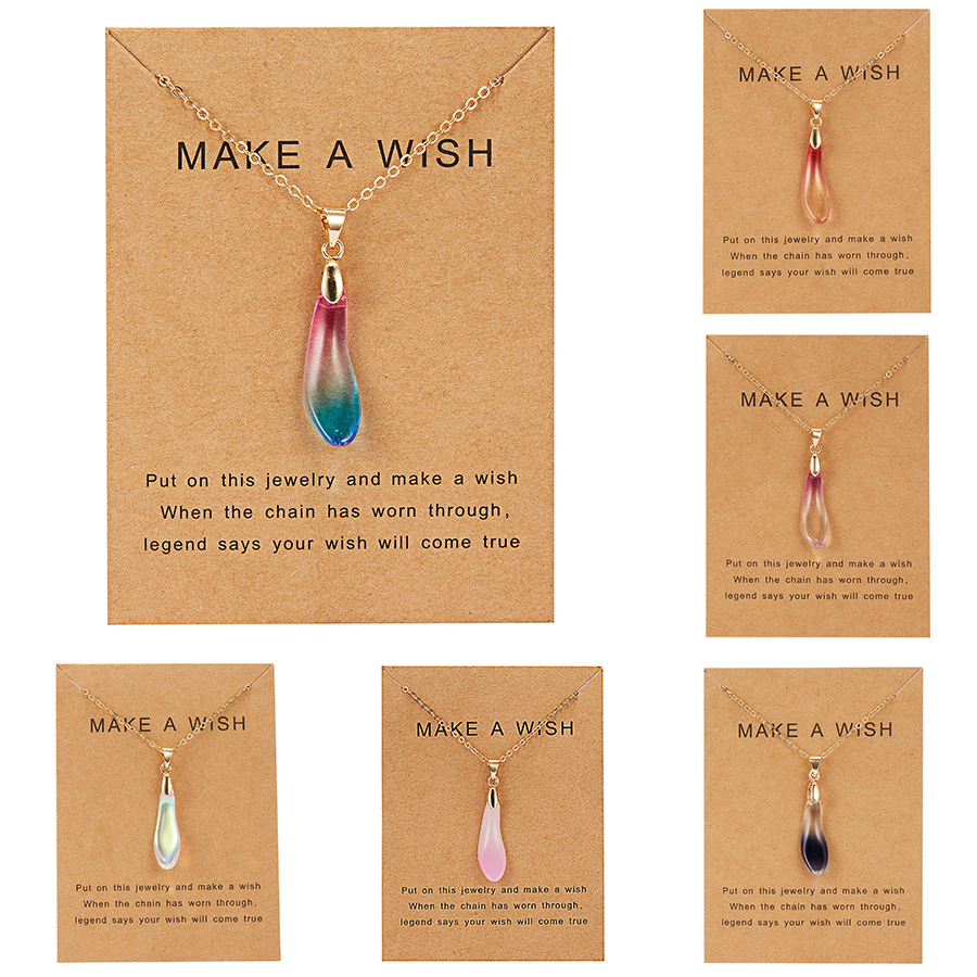 Wish Card Waterdrop Stone Pendant Choker Necklace for Women Gold Link Chain Necklace Women Friendship Gift Collares Jewelry