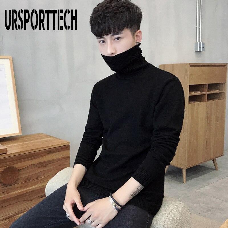 URSPORTTECH Turtleneck Mens Sweaters Wool Pullover Sweater Male Oversized Turtle Neck Men Sweter Pull Jumper Korean Style White
