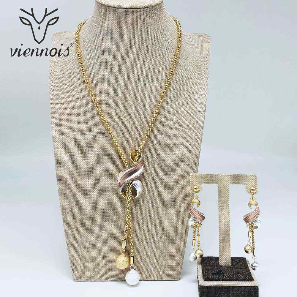 Viennois Fashion Mix Color Dangle Earrings Gold Lrregular Necklace Jewelry Set For Women Metal Party Jewelry Set