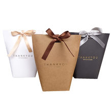 """5pcs """"Merci"""" Thank you Black White Bronzing Candy Paper Bag Wedding Favors Gift Box Package Birthday Party Favor Bags"""