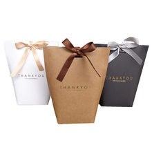 """Sac de remerciement en papier pour bonbons """"Merci"""", sac en papier pour bonbons bronzés, en noir, blanc, emballage cadeau pour les invités de mariage de fête anniversaire, 5 pièces"""