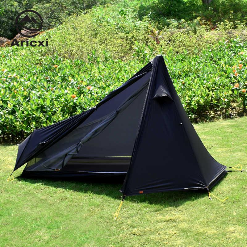 Oudoor Ultralight namiot kempingowy 3 sezon 1 pojedyncza osoba profesjonalny 15D Nylon 1 strona powłoka silikonowa namiot bez sztoku
