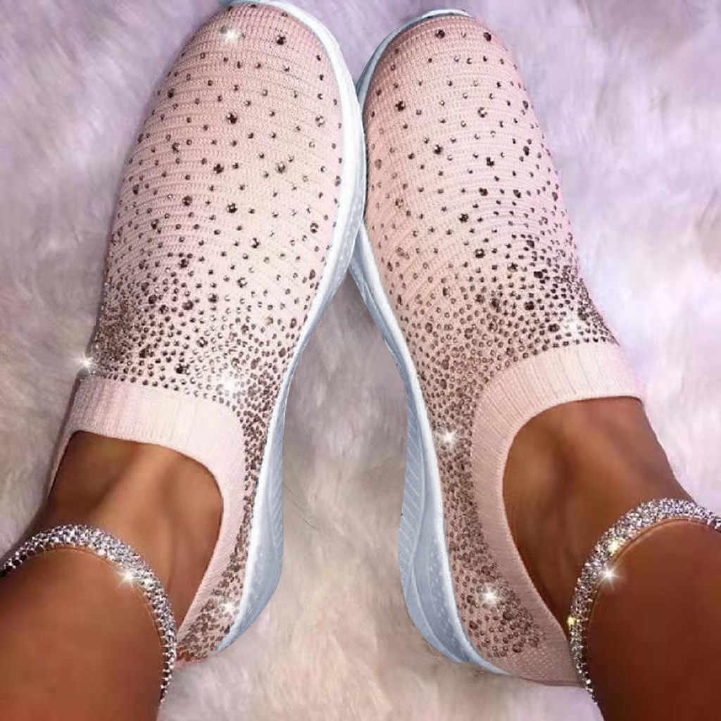 สตรีข้อเท้าแบน Bottomed รองเท้าผู้หญิงตื้น Loafers แฟชั่นคริสตัล Bling รองเท้าผ้าใบฤดูหนาวรองเท้า Dropshipping