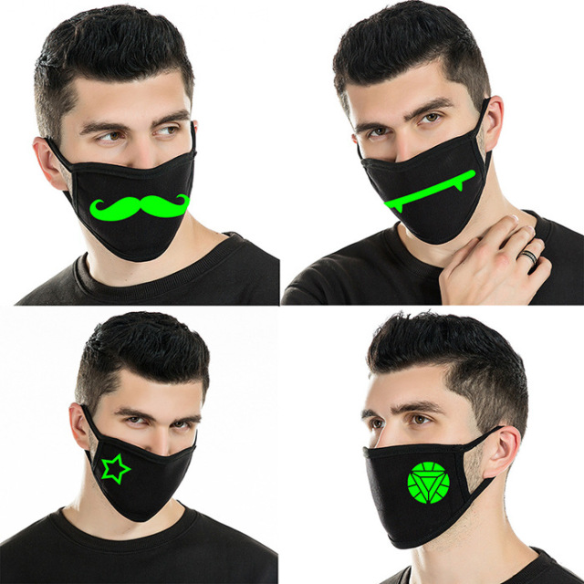 2020 Reusable Luminous Funny Expression Cotton Anti Dust Mouth Face Mask For Black Kpop Unisex Face Mouth Muffle Mask Fashion 5