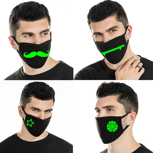 Reusable Luminous Funny Smile Expression Cotton Anti Dust Mouth Face Mask For Black Kpop Unisex Face Mouth Muffle Mask Fashion 4