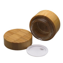 50g Bamboo Container Glass Cream Jar Portable Travel Jars For Cosmetic Packaging Empty Wood Plastic Bottle With Lid Reuse 6 x 50g round amber glass jar straight sided cream jars w black plastic lid cap inner liner for salve homemade lotion cosmetics page 8