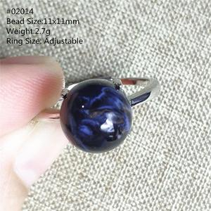 Image 2 - Genuine Natural Blue Pietersite Gemstone Chatoyant Adjustable Round Ring 11x11mm From Namibia 925 Silver Women Men AAAAA