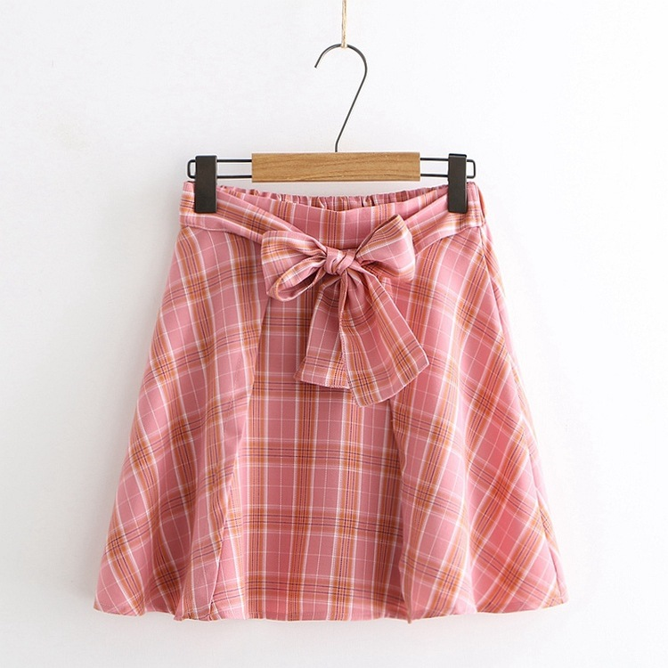 Plaid Short Skirt Women's College Style Summer New Style High-waisted A- Line Skirt Lace-up Half-length Skirt Versatile Skirt S2