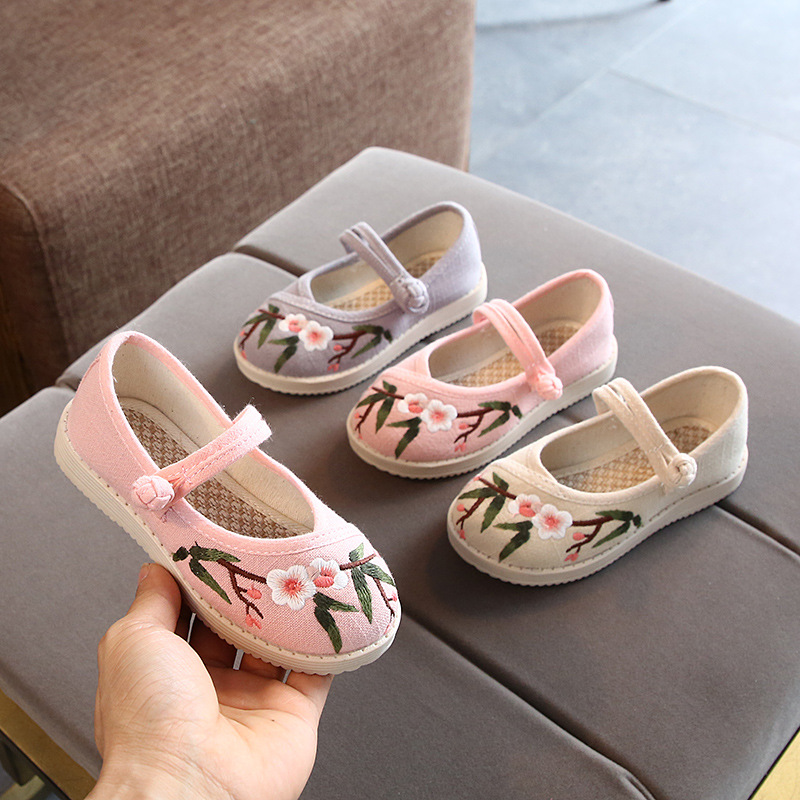 Girls Embroidered Shoes Kids Disc Buckle Cloth Shoes Children Soft Tendon Bottom Embroidery Chinese Style Fashion Flower Shoes