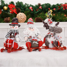 Sled Santa Claus Snowman Elk christmas decoration Christmas Figures Doll Toy New Year Gift for Kids adornos de navidad For 2020(China)
