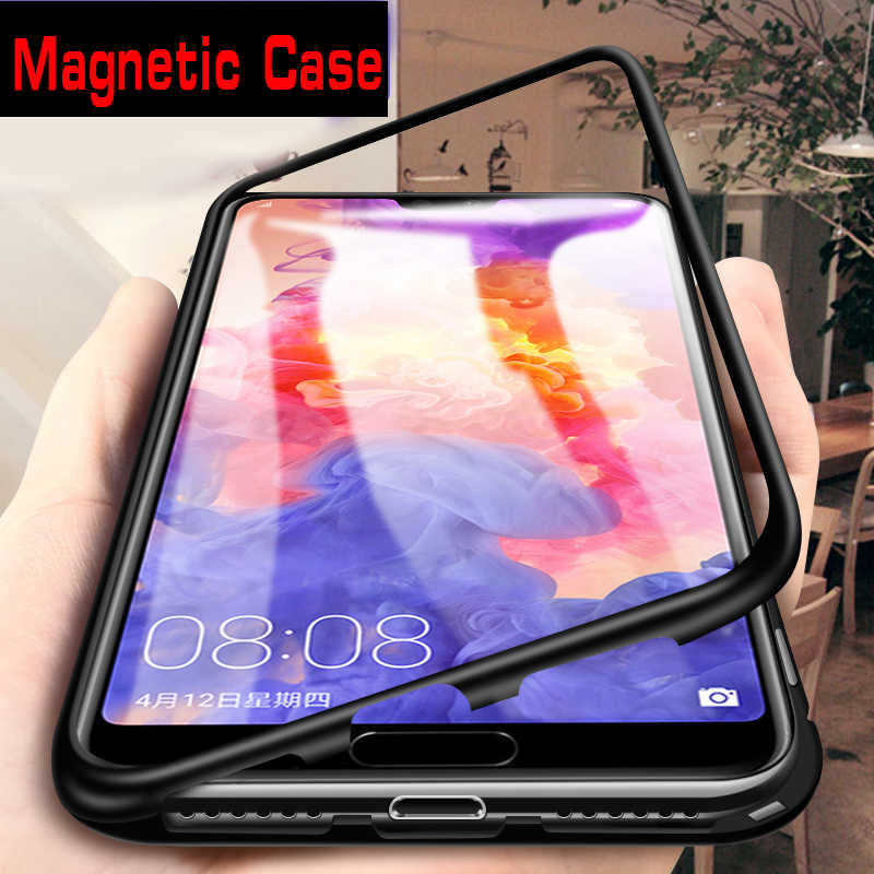 Magnetic Adsorption Metal Glass Case For Huawei P30 Lite P20 Mate 20 Pro Honor 10 8X Nova 4 4e 3 3i Y9 2019 Magnet Phone Case