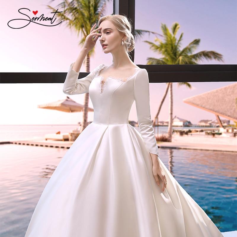 SERMENT Long Sleeve Satin Wedding Dress Square Collar Soft Satin Chapel Train Lace Up Regular Empire Free Custom Made Plus Size