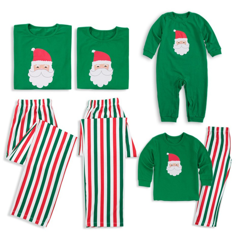Christmas Pajamas Set Family Matching Outfits Green Striped Pyjamas Set Sleepwear Nightwear Xmas Baby Romper