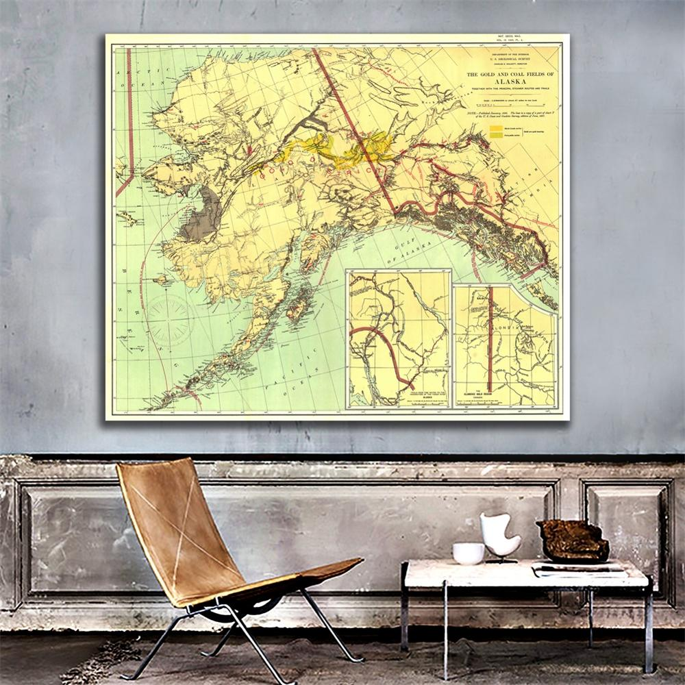 60x60cm The Gold And Coal Fields Of ALASKA In 1898 Edition Fine Canvas Spray Painting Wall Map For Livinig Room Wall Decor