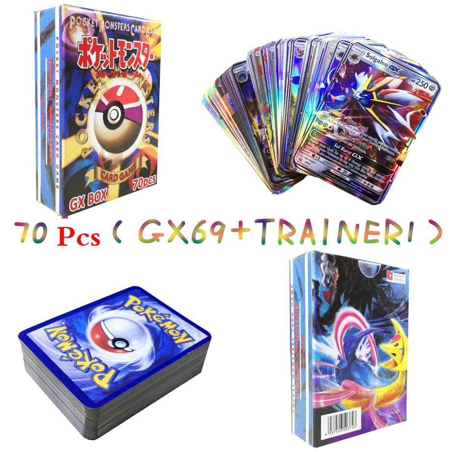 70PCS GX MEGA EX Cards Per Random Box New POKEMON Card English Version Pokemon Ptcg Battle Collection Card Box Kids Toy Gift