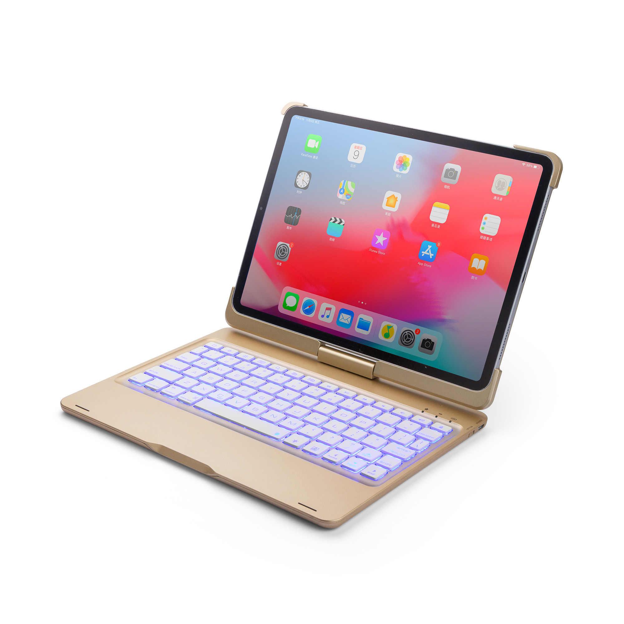 สำหรับ iPad Air 3 10.5 ''หมุนสีสัน Backlight บลูทูธคีย์บอร์ดไร้สายสำหรับ iPad Pro 10.5'' อลูมิเนียมโลหะผสม Fundas